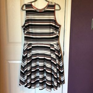 Black, white and coral dress